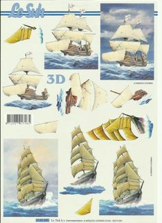 boats 3d Paper Art, 3d Paper Crafts, Image 3d, 3d Sheets, Mini Craft, Diy Cardboard, 3d Artwork, 3d Cards, Decoupage Paper