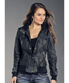 Rock & Roll Cowgirl Faux Leather Juniors Bomber Jacket