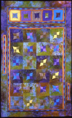 """""""Jewels of the Reef"""" by Lisa Jenni © 2006. 26""""x 41"""" used hand dyed background fabric."""
