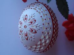 Carved and Wax Embossed Chicken Egg in Red and White, hand Decorater Easter Egg, Polish Pisanki, Easter Kraslice on Etsy, $39.95
