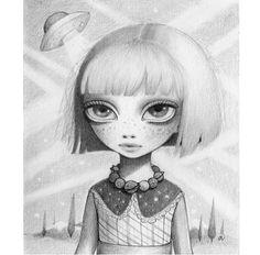 Perception Creates Reality – Pop Surrealism – New Contemporary – Big Eye Alien Art Trippy Drawings, Easy Drawings, Ink Drawings, Illustrations, Illustration Art, Disney Princess Tattoo, Alien Art, Graphite Drawings, Pop Surrealism