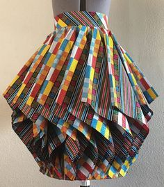 Hypnotic African Wax Print Lampshade Skirt Multi Color Print