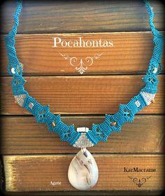 Pocahontas necklace!/Agate Macrame necklace\handmademicromacrame by KarMacrame on Etsy