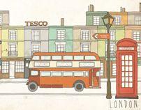 London Wallpaper Mural by Little Hands , via Behance