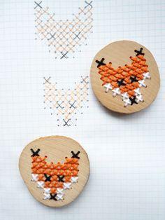 cross stitch foxes