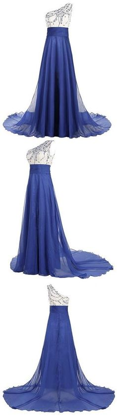 chiffon prom dress, chiffon evening dress, royal blue prom dress, evening gown, prom gowns, beaded prom dress, one shoulder prom dress, long prom dress, long evening dress