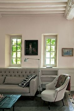 Living Room Painted In Farrow & Ball Living Room Dimity Estate Emulsion Farrow Ball, Farrow And Ball Paint, Top Paint Colors, Paint Colors For Living Room, Living Room Decor, Living Area, Dining Room, All White Room, Interiors