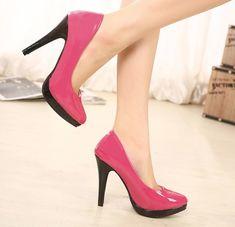 Hot Pink Pointed Toe Platform Pumps