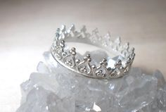 Silver Crown ring Sterling silver princess ring by AWildViolet