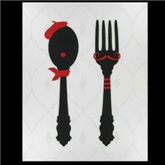 French spoon and fork. :) Cute. I'd hang this in my kitchen for at least a little while.