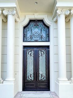 Did you know wrought iron doors are very durable, and typically last for many decades? 💡 About this design: Athena Wrought Iron Door w/Transom ☎️️ 877-205-9418 🌐 www.iwantthatdoor.com Wrought Iron Doors, Design, Home Decor, Decoration Home, Wrought Iron Gates, Room Decor, Home Interior Design, Home Decoration