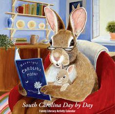 South Carolina Day by Day Family Literacy Activity Calendar. Reading Art, I Love Reading, Lapin Art, Bunny Art, Bunny Drawing, Rabbit Art, Preschool Books, Pics Art, Children's Book Illustration