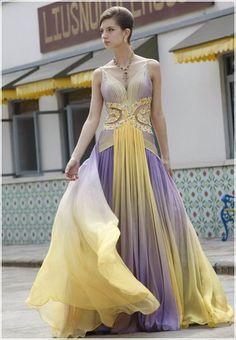 I do and don't love this.. I think it's just the chiffon that I love. What do you think @Christi Spadoni Frase -- Designer high quality V-Neck Floor-length chiffon princess evening dress