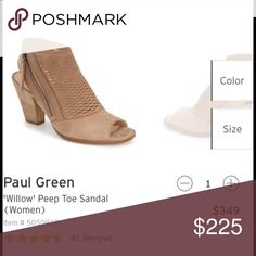 Paul Green Willow Peep Toe Bootie Paul Green Willow Peep Toe Bootie. Open toe sling back Peep Toe Bootie. Stacked heel. Neutral color. Springs perfect shoe. Like new. Worn only a few times. Size 6.5. I love these booties!!! (Have 2 pairs). Paul Green Shoes Ankle Boots & Booties