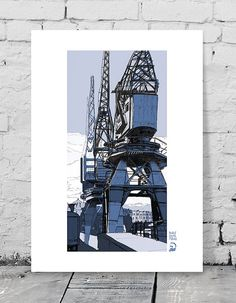 Art Giclee Print, M Shed Cranes, Harbour Side Bristol Uk. Industrial…