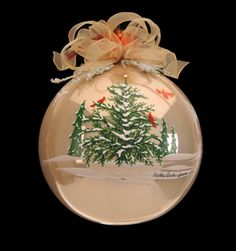 "Hand #painted #Christmas #ornament, 7"" Diameter, Embellished with Quality…"