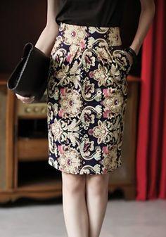 Retro Style Print High-Waisted Skirt For Women