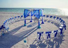 Blue beach wedding canopy with chandelier - #weddingceremony #beachwedding repinned by wedding accessories and gifts specialists http://destinationweddingboutique.com