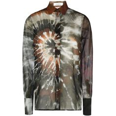 Valentino Tie Dye Sheer Blouse (€650) ❤ liked on Polyvore featuring tops, blouses, kirna zabete, sale, tie dyed tops, side slit top, valentino blouse, tie die tops and multi color blouse