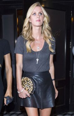 Celebrities In Leather: Nicky Hilton wears a short black leather skirt