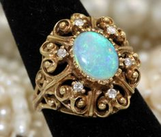 Antique C. 1940 Art Deco 14k Yellow Gold .91 C Australian Opal Diamond Ring! in Jewelry & Watches, Vintage & Antique Jewelry, Fine, Art Nouveau/Art Deco 1895-1935, Rings | eBay
