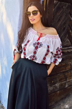 Beautiful girl wearing Romanian traditional blouse! #romanianblouse #ie…