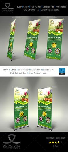Plant Sale Show Signage Roll Up Banner Template PSD. Download here: http://graphicriver.net/item/plant-sale-show-signage-roll-up-banner-template/16011102?ref=ksioks