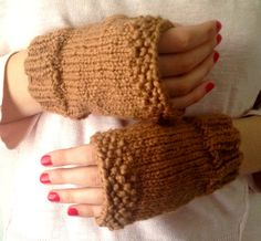 Gingerbread Organic Cotton Fingerless Gloves by LaceyDaisyKnits