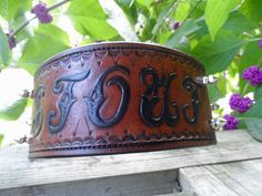 The Stout - Brown Name Plate Diamond Cut Leather Dog Collar With Spikes