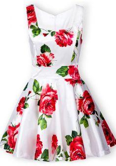 White Sleeveless Bandeau Floral Tank Dress - Sheinside.com Mobile Site