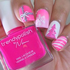 "Pink Christmas nails The color I'm holding is @trendypolish-""Princess Pink"""
