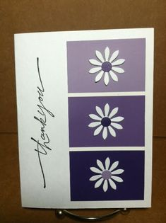 "Handmade Paint Sample ""Thank You"" Card...with daisies.  Picture only for inspiration."
