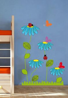 Ladybug Butterfly Flowers Nature Nursery Kids – Full Color Wall Decal Vinyl Decor Art Sticker Remova All of our wall decals are made from high quality vinyl. We guarantee our product and if you are unhappy with the product please contact us to Butterfly Flowers, Flowers Nature, Butterfly Kids, Daisy Flowers, Diy And Crafts, Crafts For Kids, Paper Crafts, Vinyl Dekor, Decoration Creche