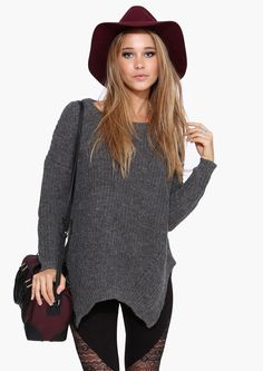 Marjorie Knit Sweater in Charcoal | Necessary Clothing - hat and sweater