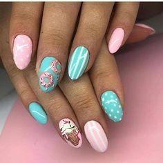 Make an original manicure for Valentine's Day - My Nails Minimalist Nails, Nail Swag, Spring Nails, Summer Nails, Cute Nails, Pretty Nails, Hair And Nails, My Nails, Ice Cream Nails