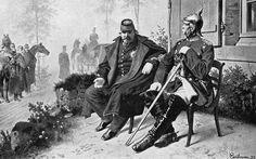 1870: 1 September, Battle of Sedan,the German Unification. Napoleon III & Bismarck after being captured in the Battle