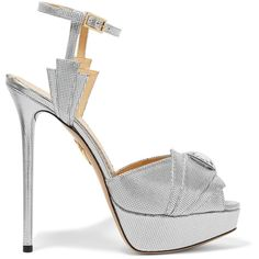 Charlotte Olympia - Sky Scraper Embellished Metallic Textured-leather... ($391) ❤ liked on Polyvore featuring shoes, sandals, silver, ballerina shoes, embellished sandals, high platform sandals, high platform shoes and metallic sandals