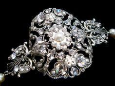 Cuff bracelet, bridal bracelet, wedding jewelry, vintage bracelet, antique silver bracelet, Swarovski crystals and pearls. $70.00, via Etsy.