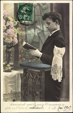 Ak Glückwunsch Kommunion, Souvenir de ma Premiere Communion - 755515