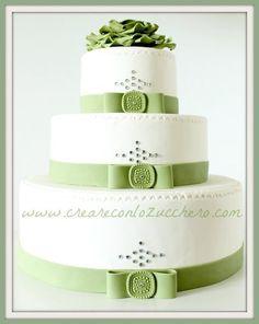 Wedding Cake, white, green