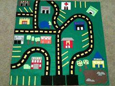 Felt car play mat. This blog also has tons of other fun tutorials
