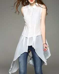 White Sleeveless Asymmetric Chiffon Shirt