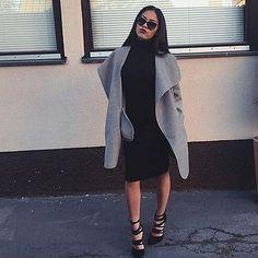 All Black // Grey Waterfall Coat // Lace Up Heels // Classy Sunglassy