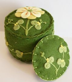 Moss and Yellow Mini pincushion with by TheDailyPincushion on Etsy, $20.00