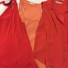 Forever 21 top bundle Flowy forever 21 bundle. All size small. Racer back polyester tank. Orange/red sheer polyester button down. Slub cotton raced back tank. Tops Tank Tops