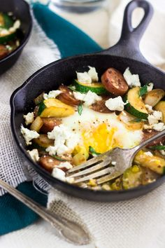 Goat Cheese, Zucchini and Chicken Sausage Hash -  Creamy, healthy and SO amazing!   Food Faith Fitness  #glutenfree #hash #recipe