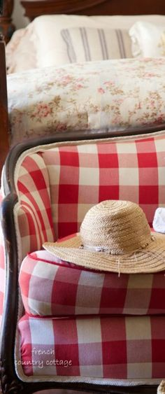 'Mix patterns like a buffalo check with a french floral ticking stripe for collected charm.' Click over for more tips for getting the French Cottage look