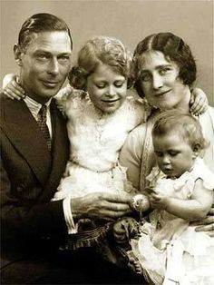 King George VI and Queen Elizabeth with their daughters, Princess Elizabeth and Princess Margaret.