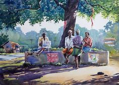 66 Ideas Painting Ocean Watercolor For 2019 Art Village, Village Scene Drawing, Indian Village, Watercolor Landscape Paintings, Watercolor Paintings, Watercolor Portraits, Acrylic Paintings, Watercolours, Composition Painting