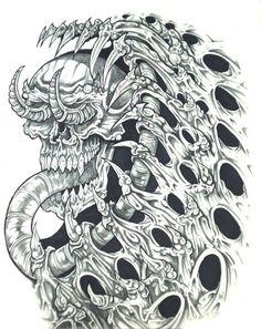 biomech skull horror tattoo design - http://tattoosaddict.com/biomech-skull-horror-tattoo-design.html #biomech, biomechanical, design, horror, skull, tattoo